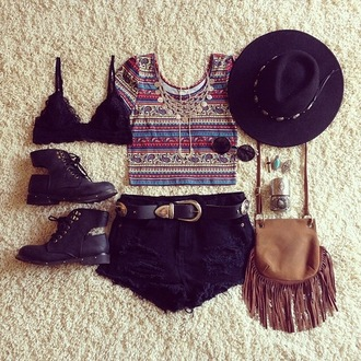 vintage indie boho festival shorts boots shirt boho shirt bralette fringed bag hat sunglasses black shorts belt underwear