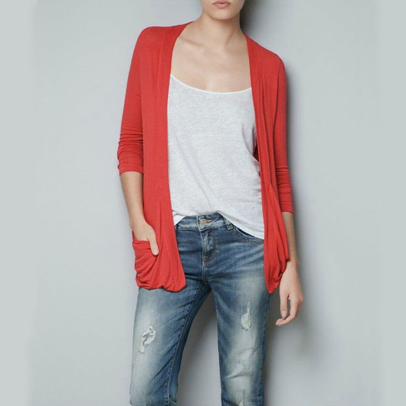 red sweater fall outfits cardigan long cardigan