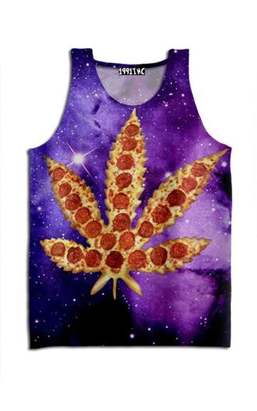 galaxy print pizza weed cut off shirt