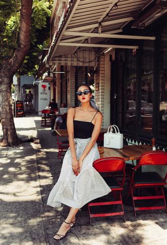 sunglasses tumblr parisian chic skirt midi skirt white skirt top black top bodysuit sandals sandal heels high heel sandals shoes