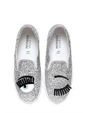 shoes,glitter shoes,silver shoes,silver,glitter,chiara ferragni,slip on shoes,eyes