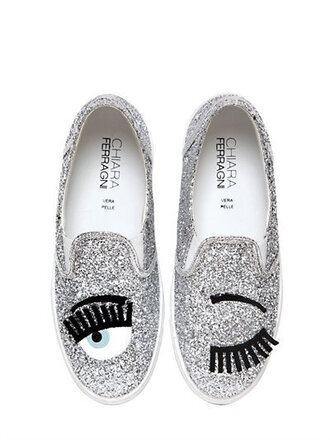 shoes glitter shoes silver shoes silver glitter chiara ferragni slip on shoes eyes
