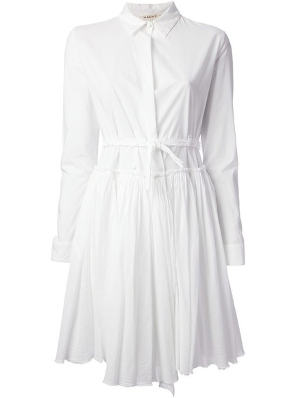 dress pleated dress hache white dress