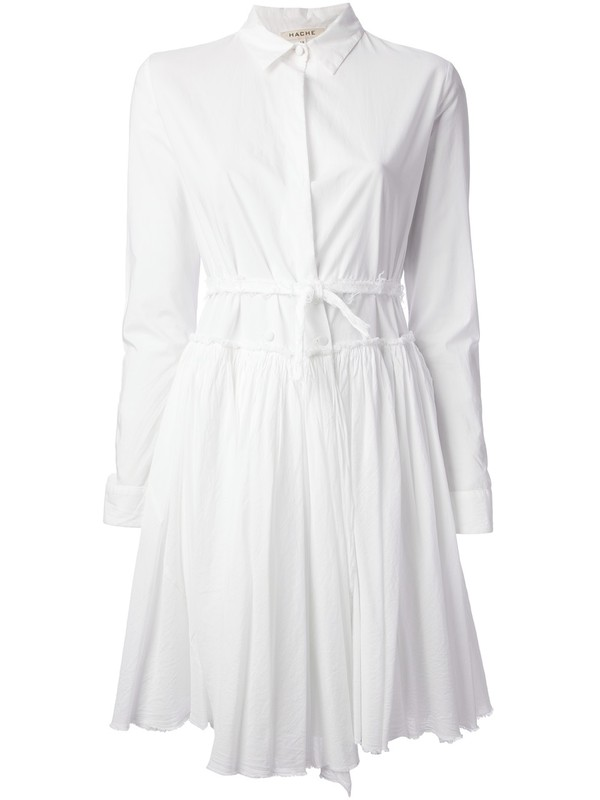 dress hache pleated dress white dress