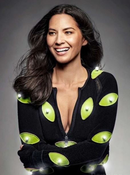 olivia munn long sleeves neon top