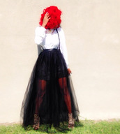 suspenders,jainice,jai nice skirt,tulle skirt,blouse,red,red hair,black and white,dress,leopard print,skirt