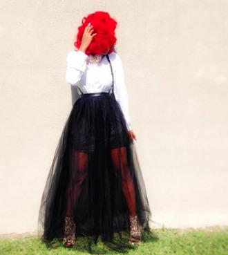 dress tulle skirt blouse black and white suspenders jainice jai nice skirt red red hair cheetah print