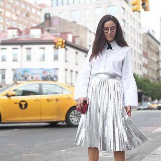 skirt tumblr silver silver skirt shirt white shirt bell sleeves glasses midi skirt bag mini bag red skirt