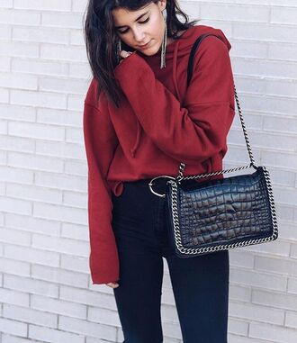 top tumblr red top hoodie bag black bag chain bag denim jeans black jeans athleisure belt fall outfits sweater red hoodie black purse blogger