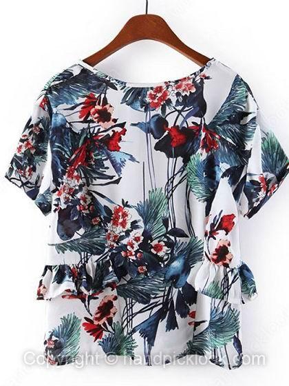White V-neck Short Sleeve Flowers Print Ruffles Chiffon T-Shirt - HandpickLook.com