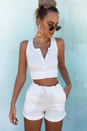 shorts,all white everything,littlelace,summer outfits,white shorts,crop tops,white top,white tank top,sunglasses,tank top,fashion,hot pants,casual,earrings,white t-shirt,summer,summer accessories
