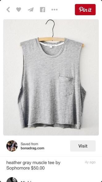 shirt gray shirt crop tops pocket t-shirt muscle tee