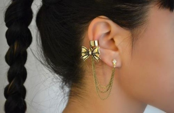 jewels ear cuff bows gold piercing jewelry earrings ear cuff gold earrings this cuff earrings