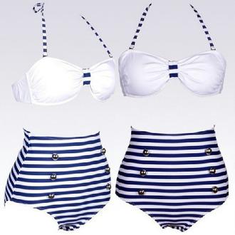 swimwear high waisted bikini sailor style stripes blue white