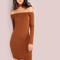 Rib knit choker neck sleeved open shoulder dress cognac -shein(sheinside)