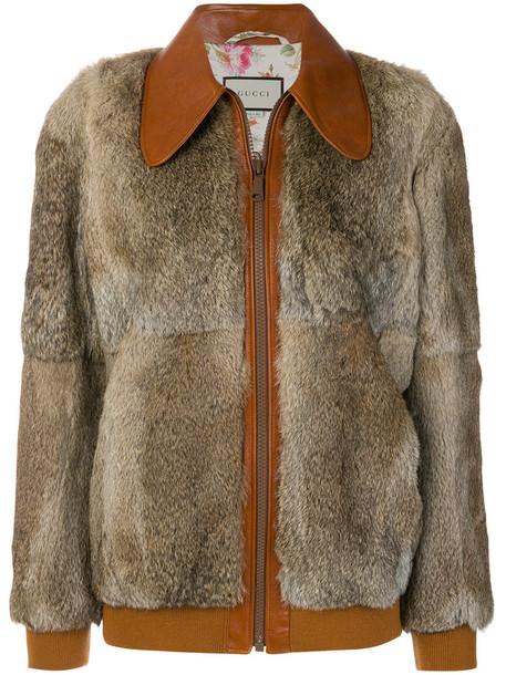 gucci jacket bomber jacket fur fox women silk wool brown