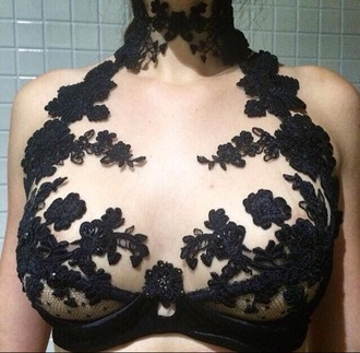 shirt black crop tops lace see through