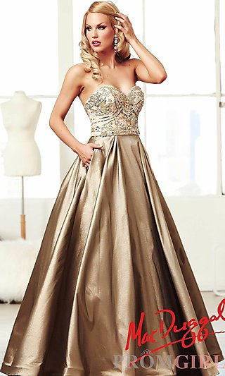 Prom Dresses, Celebrity Dresses, Sexy Evening Gowns - PromGirl: Long Gold Strapless Sweetheart Ball Gown