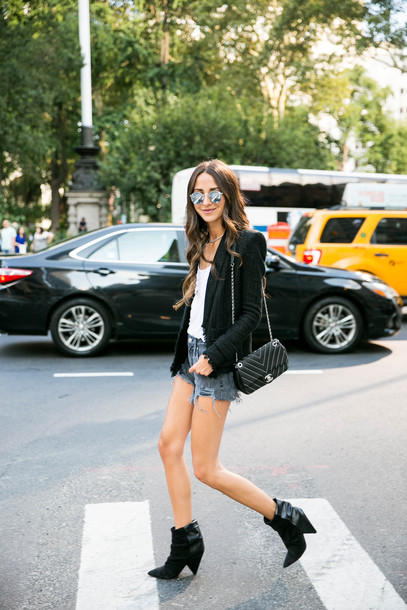 something navy blogger jacket t-shirt shorts shoes sunglasses bag blazer black blazer chanel bag denim shorts