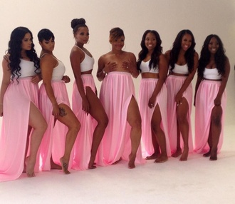 crop tops and maxi skirts skirt maxi skirt pink skirt shirt bandeau white white crop tops crop tops crop top bustier