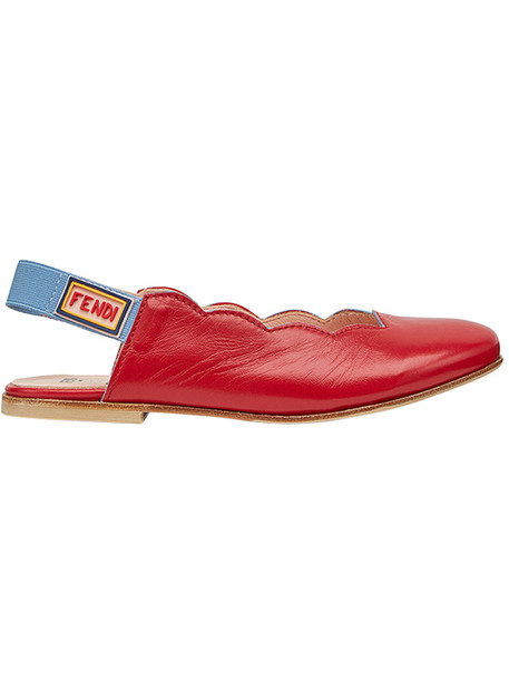 Fendi Kids leather red shoes
