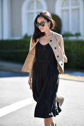 top,skirt,sunglasses,tumblr,black top,camisole,midi skirt,black skirt,jacket,nude jacket,office outfits,work outfits