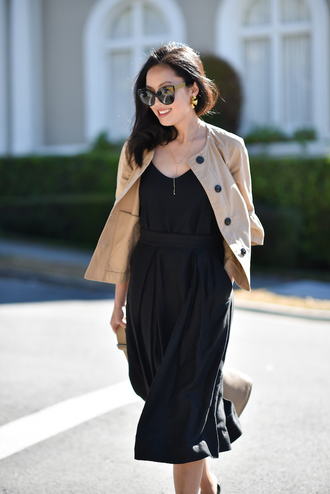 top skirt sunglasses tumblr black top camisole midi skirt black skirt jacket nude jacket office outfits work outfits