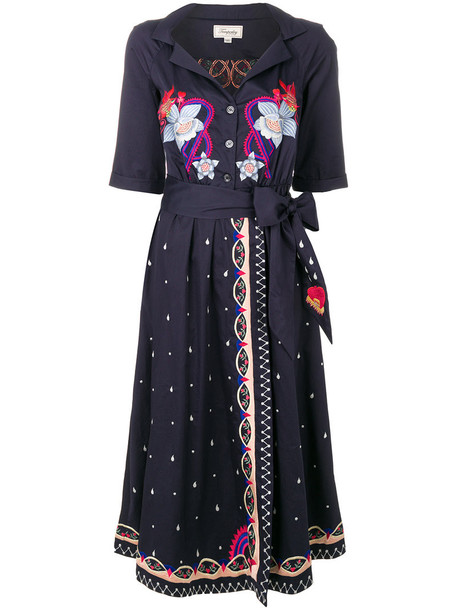 Temperley London dress wrap dress women cotton blue