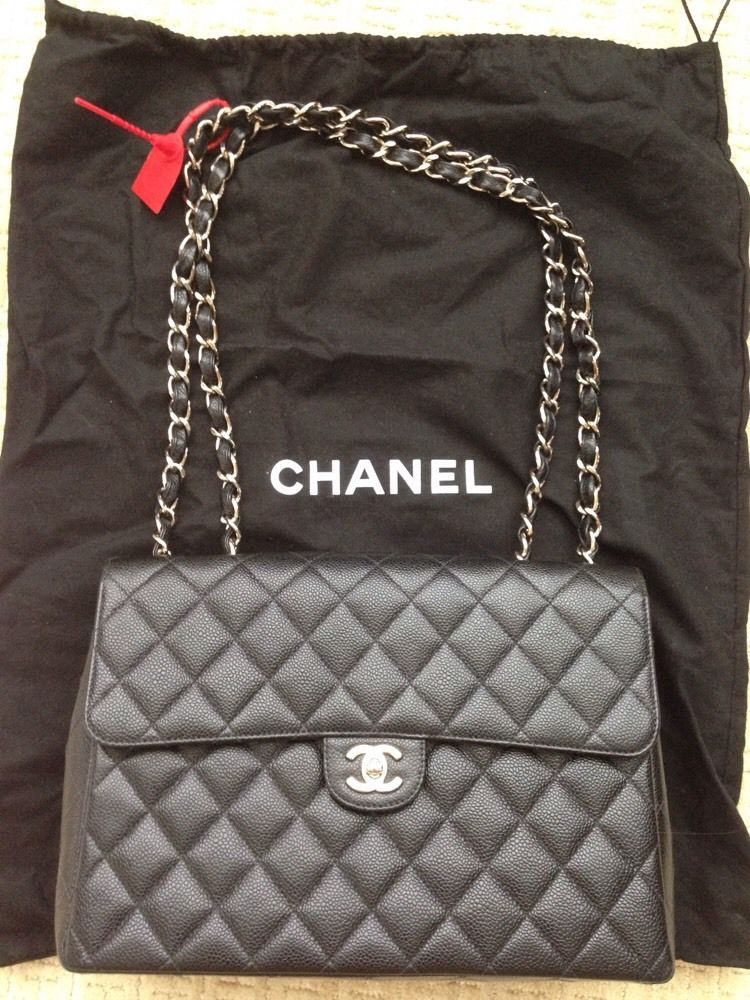 3df7642ac81a90 Authentic JUMBO CHANEL Black CAVIAR Quilted Leather Classic Single Flap Bag  SHW