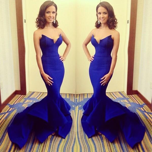 dress maxi dress prom dress Roxie blue dress mermaid prom dress royal blue dress