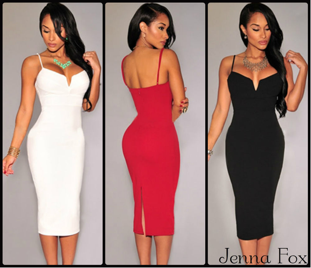 New sexy midi bodycon party dress celebrity cocktail strapless plunging v