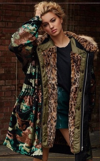 jacket sparkle fur coat parka faux fur coat faux fur camouflage