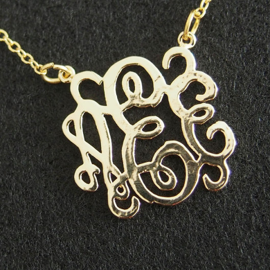 Monogrammed Gold necklace, Bridal necklace wedding gift, 18K Gold necklace, Personalized Necklace, best gift Jewelry for mom | Handmade Bracelets Wholesale, Friendship Bracelets, Custom Leather Rope Bracelets,Craft Supplies Wholesale