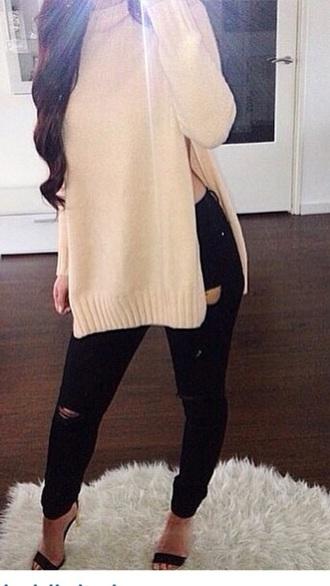 sweater pink sweater jeans denim jeans pants