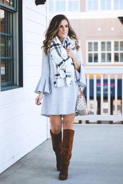 thedaintydarling blogger dress shoes jewels scarf grey dress louis vuitton bag boots knee high boots fall outfits