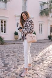 bag,tumblr,pink bag,denim,jeans,white jeans,jacket,leopard print,sneakers,pink sneakers,camera