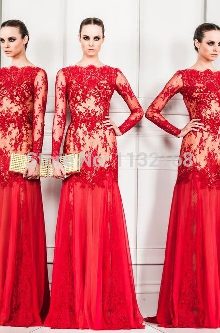 Aliexpress.com : buy 2014 hot sale sexy cheap red boat neck long sleeves mermaid lace evening dresses formal dresses gowns hot sale prom dress from reliable dress shose suppliers on making your dreaming dress!