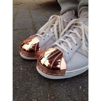 shoes sneakers rose gold glitter tips white glamour glam