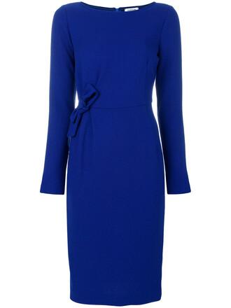 dress bow women spandex blue wool