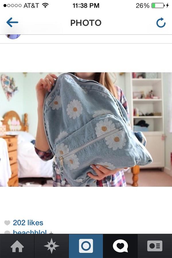bag light blue backpack with  flowersrs