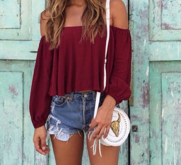 shirt top off the shoulder top red burgundy top blouse