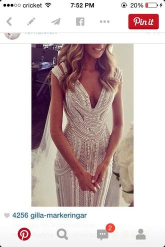dress white dress beaded dress prom dress wedding dress beautiful dress