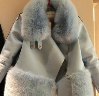 coat light blue coat fur coat jacket
