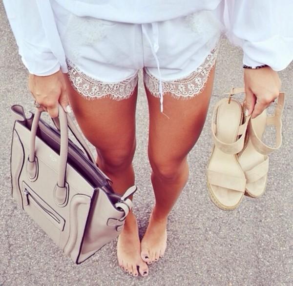 baby blue shorts lace shorts bag shoes