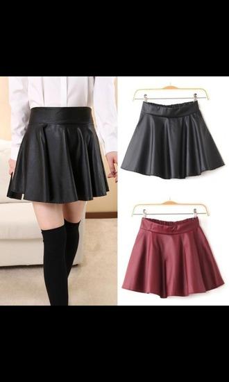 skirt skater skirt leather skirt red lime sunday