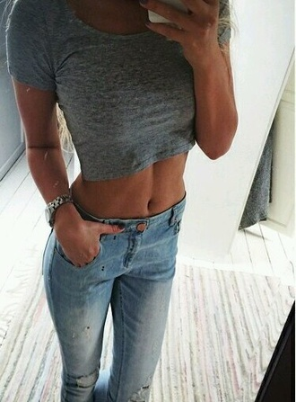 top grey top jeans ripped jeans worn grey crop top