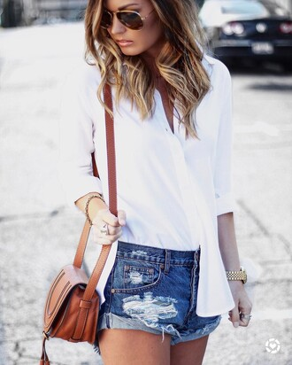 shirt tumblr white shirt shorts denim shorts blue shorts gold watch watch bag brown bag spring outfits jewels jewelry gold jewelry