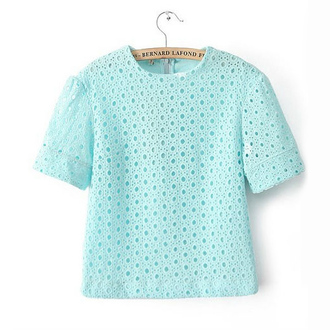 top sky blue hollow out round neck