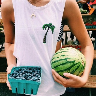 top tumblr sleeveless top palm tree print necklace tube top white top summer top muscle top horn fruits