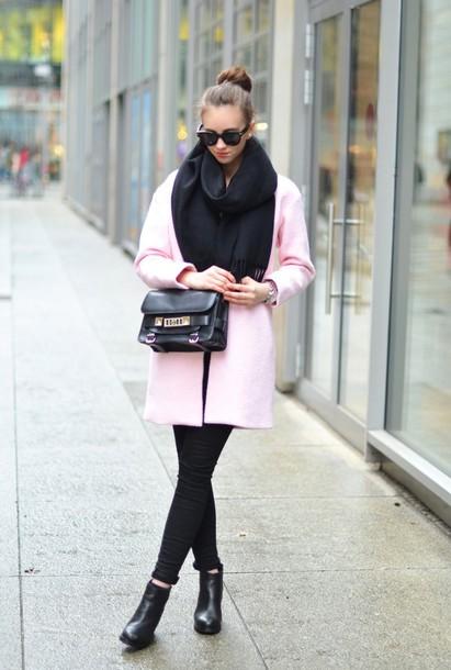 vogue haus blogger scarf pink coat satchel bag coat jeans shoes bag sunglasses jewels